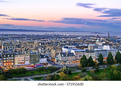 Overhead view of Edinburgh, Scotland at dusk, seen from Edinburgh Castle