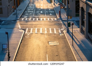 Overhead view of empty intersection at Pearl and Prospect Streets in Brooklyn New York City