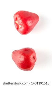 Overhead view of Fresh wax apple isolated on white background.