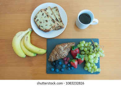 Overhead view of fruit breakfast