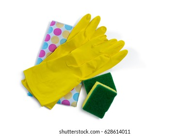 Overhead view gloves with napkin and sponges over white background