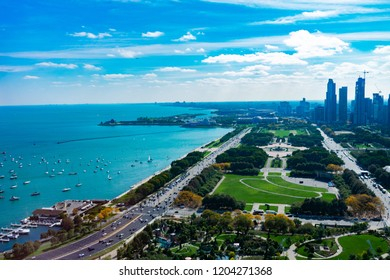 Overhead View of Grant Park Lake Shore Drive and Lake Michigan in Chicago