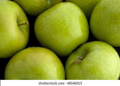 Overhead view of Green Granny Smith Apples