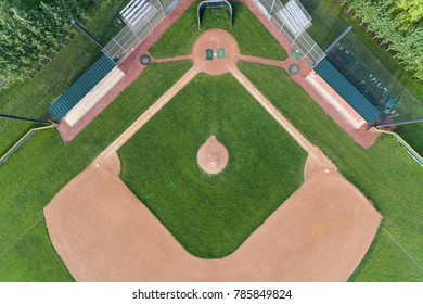 Overhead view of a high school baseball diamond in the Chicago suburb of Palatine, IL. USA