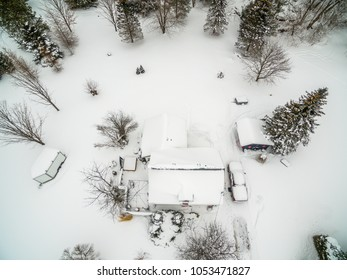 overhead view of a house in winter