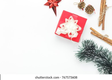 Overhead view image of decorations & ornaments merry Christmas & Happy new year background concept.Table top essential accessories on white wooden at home office desk.free space for creative design.