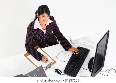overhead view of indian businesswoman in office
