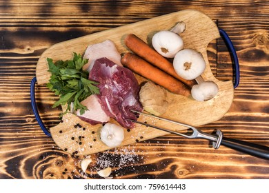 Overhead view of ingredients for a duck meat dish