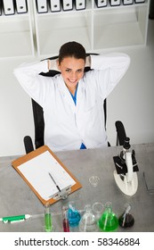 overhead view of lab technician relaxing