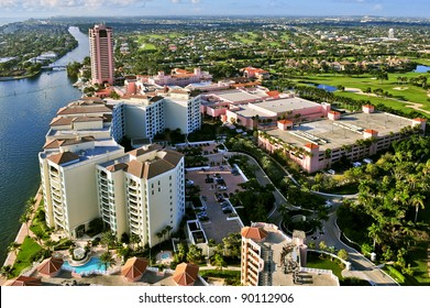 overhead view of lakefront district of boca raton florida looking southward