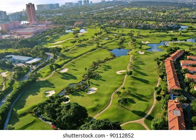 overhead view of luxury florida municipal golf course