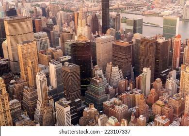 overhead view of manhattan skyline at sunset, NYC