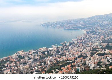 Overhead view of the Mediterranean Sea and the buildings around Jounieh Bay in Beirut Lebanon