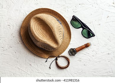 Overhead view of men's casual outfits, Essentials vacation item for traver