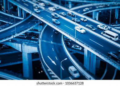 overhead view of Nanpu overpass with rush-hour traffic,shanghai,china.