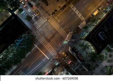 Overhead view of a new york city street corner at night