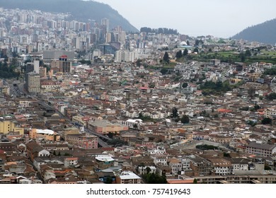 Overhead view of the Old Town and houses stretching up the hill in Quito, Ecuador, seen from the top of the Pancillo