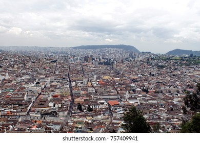 Overhead view of the Old Town, Quito, Ecuador, seen from the top of the Pancillo, with the Basilica in the distance