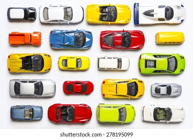 Overhead view on colorful car toys