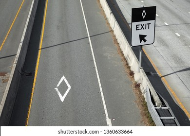 Overhead view on an Diamond Express Lane (HOV exit ramp along a freeway, in a transportation background