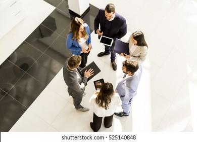 Overhead view of people having business meeting