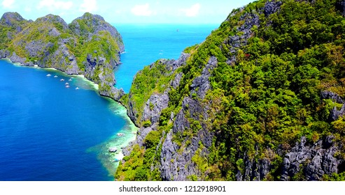 Overhead View Of Rock Bridge Connecting Two Tropical Islands In Pacific Ocean - El Nido, Palawan, Phillipines