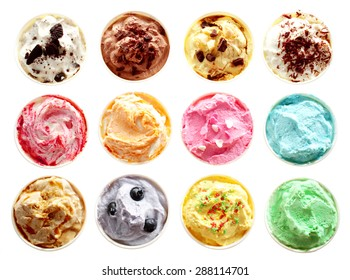 Overhead view of rows of twelve different tubs of colorful assorted flavors of ice-cream with chocolate, caramel, fruity berries, pistachio, mint and banana isolated on white