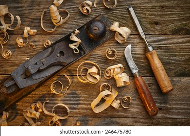overhead view of a set of old wood working tools