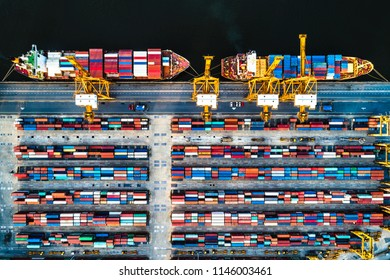 Overhead view of shipping containers, crane and ships at Bangkok Port Thailand.