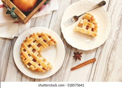 Overhead view of Sliced  Apple Tart  Pie /Thanksgiving dessert pie with lattice pattern