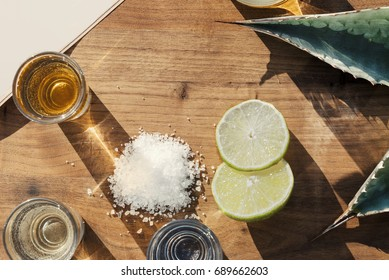 Overhead view of three kinds of tequila on an outside table with lime salt and agave leaves.