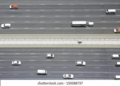 Overhead view of transport on Sheikh Zayed Road, Dubai, United Arab Emirates