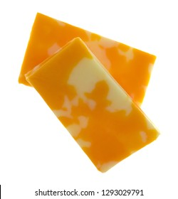 Overhead view of a two Colby Jack cheese bars isolated on a white background.