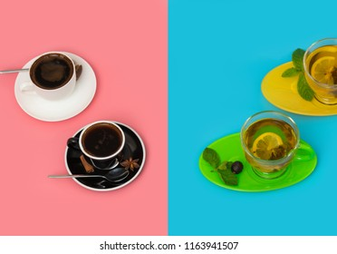 Overhead view of two of each cup in separate blue and pink color areas with ones on the right holding lemon tea and the left ones containing espresso