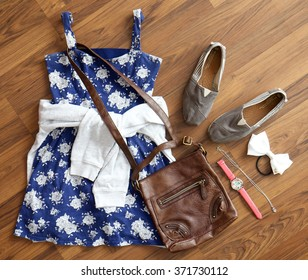 Overhead view of women's/girl's fashion with accessories.