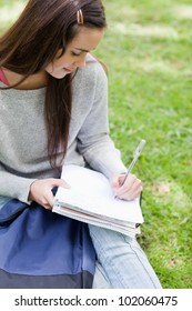 Overhead view of a young girl sitting in the countryside with her school books