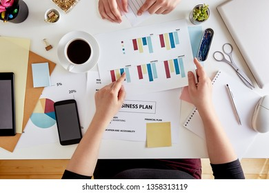 Overhead view of young women entrepreneur planning business strategy. Desk of a modern businesswoman