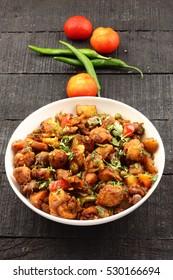 Overhead view-Indian cuisine-Aloo gobi dry fry style.