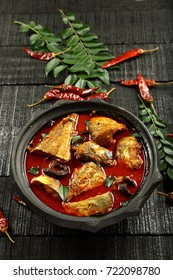 Overhead view-Traditional homemade fish curry from Kerala cuisine.