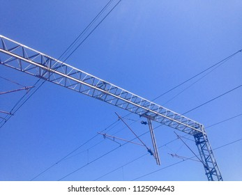 Overhead wires in daylight