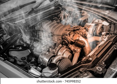 Overheated muscle car engine