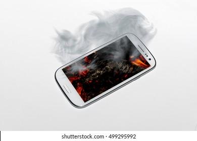 An overheated smartphone smoking
