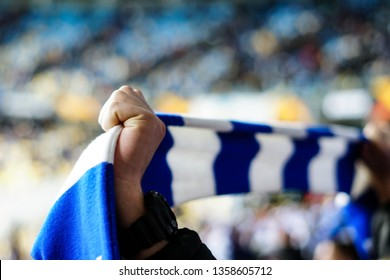 Overjoyed football fan holding a scarf and cheering