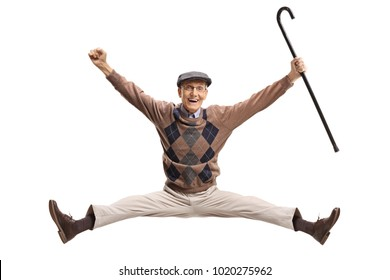 Overjoyed senior with a cane jumping isolated on white background