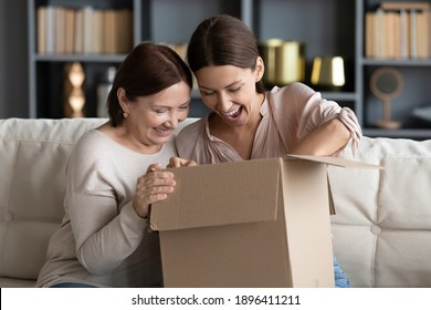 Overjoyed young woman with mature mother unpacking parcel together, looking into cardboard box, sitting on couch at home, happy elderly mum and grownup daughter excited by delivery, received order