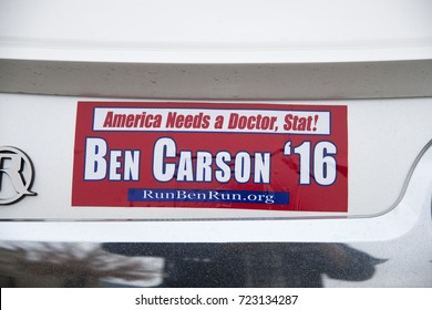 Overland Park Kansas USA, 23rd October,  2015Dr.Ben Carson bumper stickers on cars outside the Mardel book store in Overland Park, Kansas.