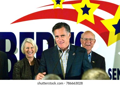 Overland Park, Kansas, USA, 27th October,  2014 Former Massachusetts Governor Mitt Romney addresses a crowd of voters during a campaign rally in support of Republican Senator Pat Roberts