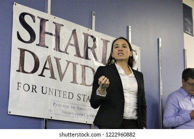 Overland Park, Kansas, USA - November 5 2018: Democrat candidate for Congress, Sharice Davids delivers a speech to supporters at pre election rally