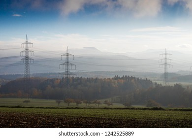 Overland power lines in the Black Forest