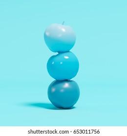 Overlap blue apples on blue pastel background. minimal concept.